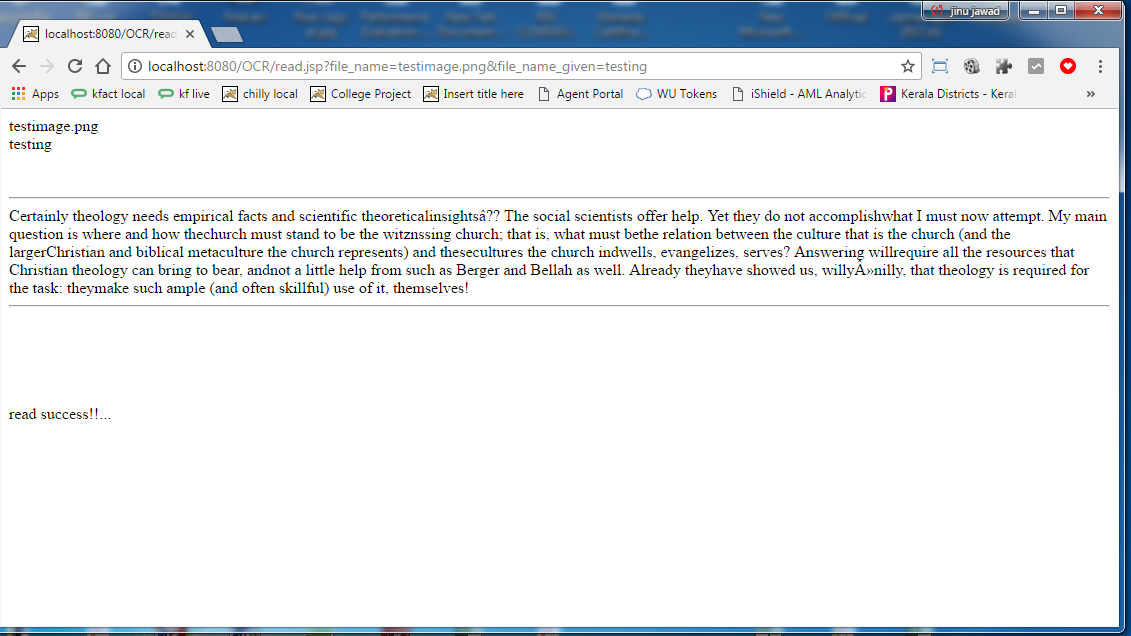 Java OCR Web Project - Tesseract Optical Character
